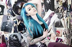 Suicide Girls, Tattoo, Blue Hair, Poster, Hands On Head ...