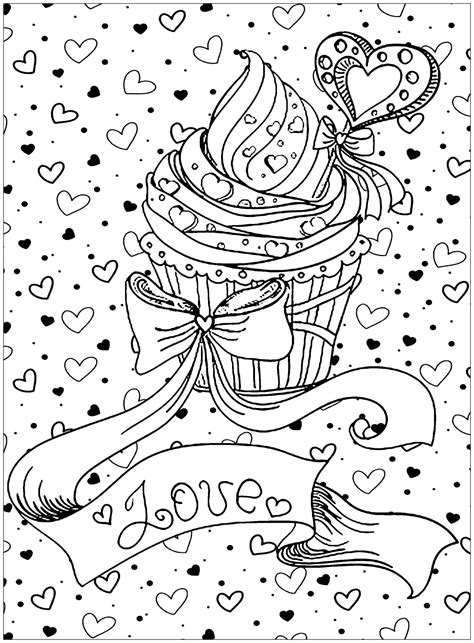 cupcake love cupcakes  gateaux coloriages difficiles