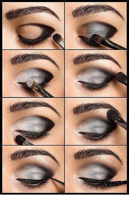 makeup diy silver  black smokey eye   women