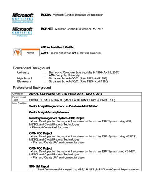 Mcse Certification Resume by Allan John R Salgado Mcsd Net Mcts Mcpd Resume Linkedin
