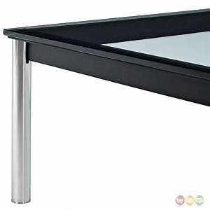 charles modern 47quot rectangle glass top coffee table w With glass coffee table black frame