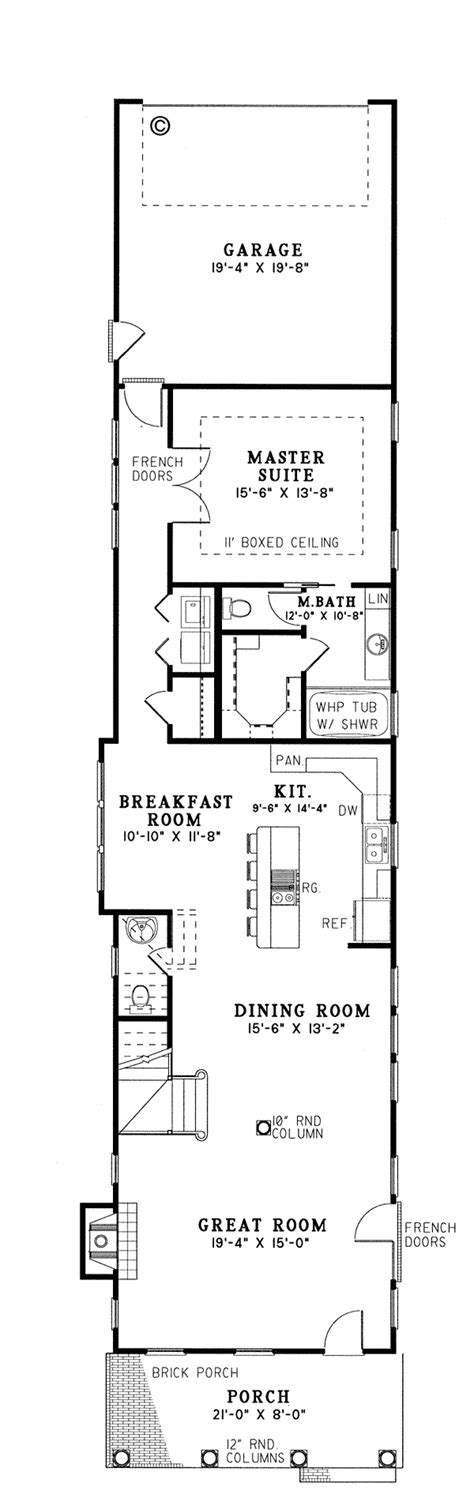 narrow house plans for narrow lots first floor plan of colonial narrow lot southern vacation house plan 61061 house garage