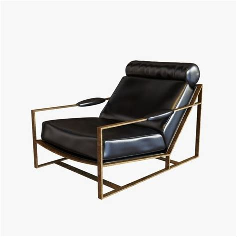 milo baughman bronze frame black leather lounge chair