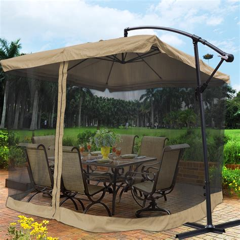 patio umbrella with netting 9x9 square aluminum offset umbrella patio outdoor shade w