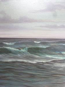 Large Seascape Oil Painting On Canvas Signed A.beardsley ...