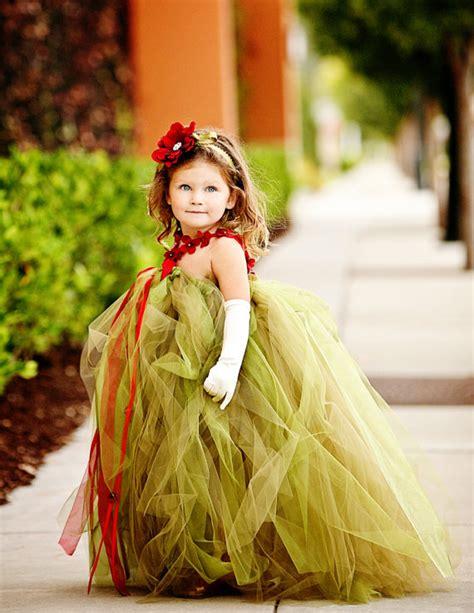 green  red fall autumn flower girl tutu dresses dress