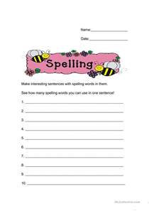 make worksheets free make sentences from your spelling words worksheet free esl printable worksheets made by teachers