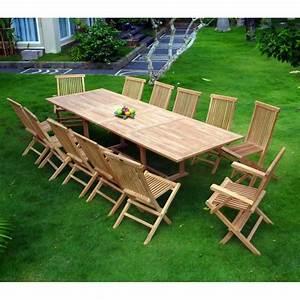 Salon Jardin Teck : ensemble 10 chaises 2 fauteuils salon de jardin promotion ~ Melissatoandfro.com Idées de Décoration