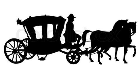 peitsche pferd und wagen silhouetten auf weissem rokoko