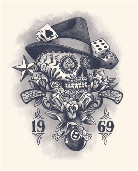 muerte skull gun vintage flower rose dice web  ball tattoo design tattoos tattoos tattoo