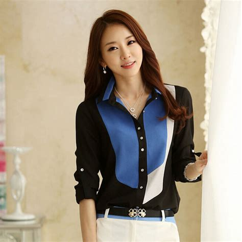 Korean Fashion Womenu0026#39;s Loose Chiffon Tops Long Sleeve Tee Shirt Casual Blouse | eBay