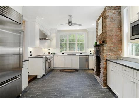 white kitchen slate floor trendlet honed black granite countertops lohud real 1404