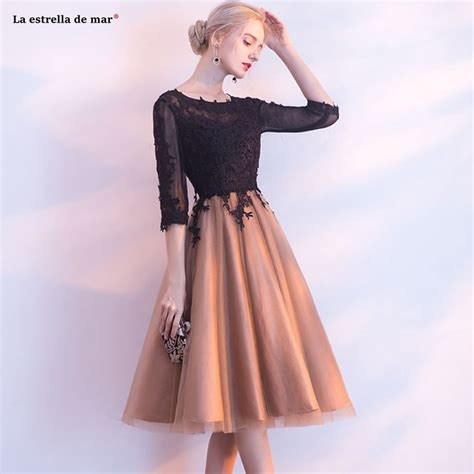 vestidos mujer  cocktail  scoop collar halter lace  sleeve black gold stitching