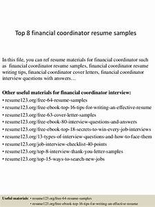 Administrative Officer Sample Resume Top 8 Financial Coordinator Resume Samples