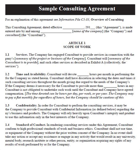 sample consulting agreements sample templates