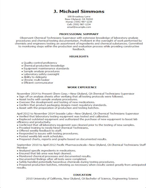 save changes chemical resume chemical engineering