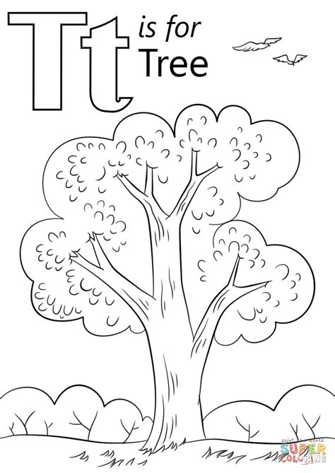 Letter T is for Tree coloring page from Letter T category
