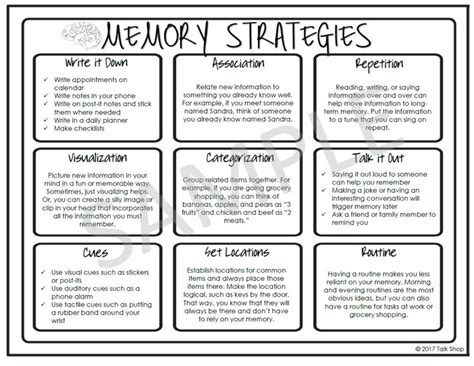 memory strategies handout  speech therapy memory