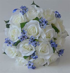 1x Silk wedding bouquet bridesmaid posy white rose blue ...