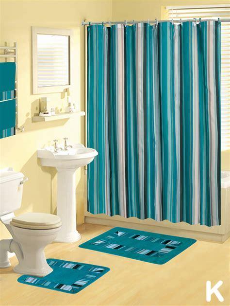 Shower Curtains 17 pcs Set Contemporary Bath Mat Contour