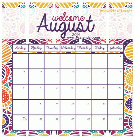 Take August Calendar Printable 2019 Cute ⋆ The Best ...