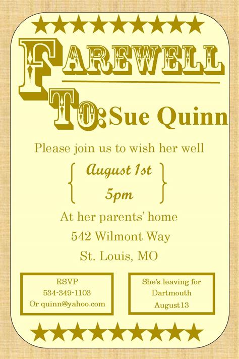 going away invitation template going away invitation templates