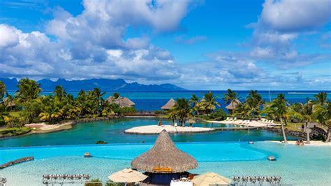 tropical beach resort hd wallpaper background image