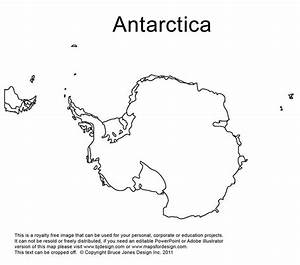 Antarctica  South Pole Outline Printable Map  Royalty Free  World Regional