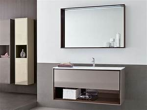 White lacquer plywood veneer floating vanity cabinet with for What kind of paint to use on kitchen cabinets for metal wall art mirrors