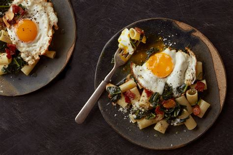 pasta  wilted greens bacon  fried egg recipe nyt