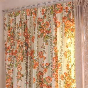 pairvintage pleated floral curtains green and orange pattern