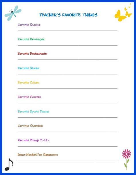 my favorite things list template s favorite things survey