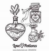 Potion Magic Potions Tattoo Vector Bottles Hand Drawn Coloring Draw Illustration Sketch Elegant Bottle Drawing Drawings Pages Doodle Template Elixir sketch template