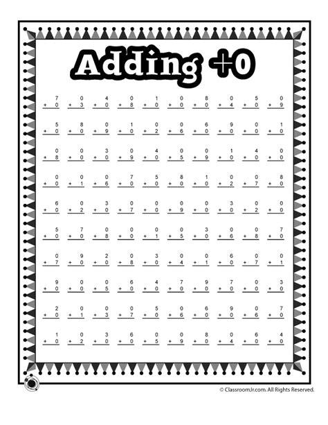 Adding 0 Math Worksheet  Woo! Jr Kids Activities