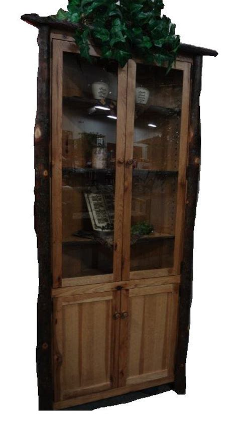 amish rustic hickory corner hutch  glass doors