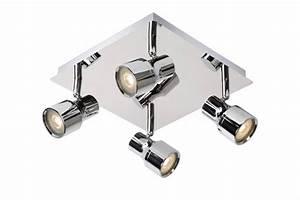 Spot Led Salle De Bain : spot plafond salle de bain led blanc chrome gu10 4x4 5w ~ Edinachiropracticcenter.com Idées de Décoration