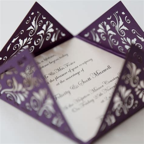 wedding stationery floral purple square laser cut wedding invitation vintage wedding stationery scotland modern