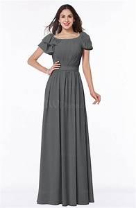 grey elegant scoop short sleeve zip up chiffon plus size With plus size grey dresses for wedding