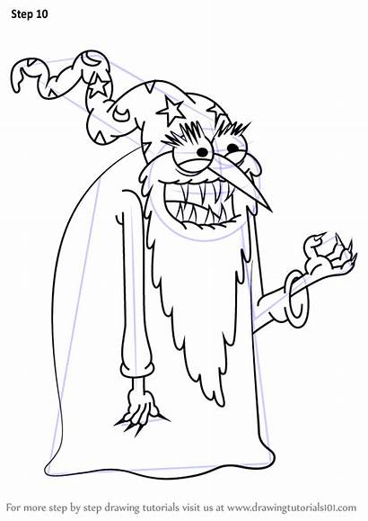 Wizard Evil Grandpa Draw Uncle Drawing Step