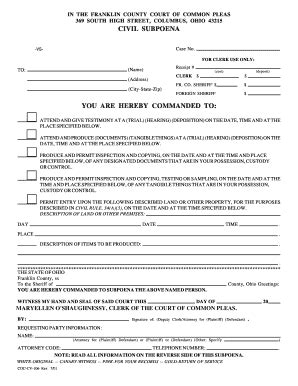 a sle subpeona form for ohio fillable online franklincountyohio civil subpoena you are