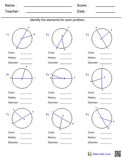identify parts of a circle worksheet