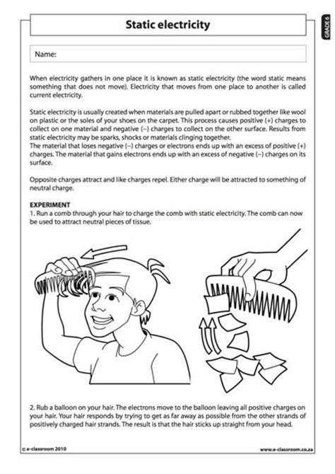 Static Electricity  Natural Science Worksheet (grade 6)  Stem  Science, Technology