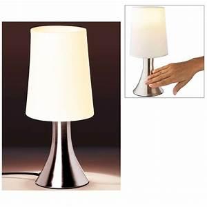 Lampe sensitive touch avec base metal et abat jour blanc