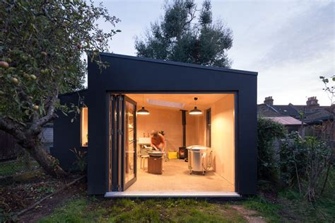 a modern pottery shed has been added to this