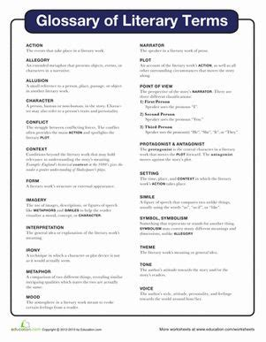 literary terms worksheets and fifth grade on