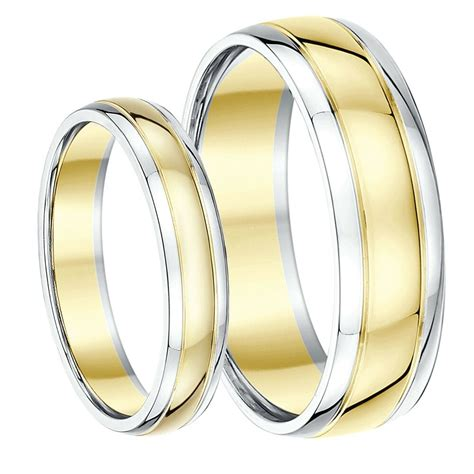 9ct two colour his hers wedding ring bands 4mm 6mm solid two tone gold ebay