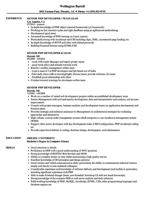 senior php developer resume samples velvet jobs