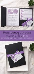 cheap purple dandelion black pocket wedding invitation With wedding invitation pockets for cheap