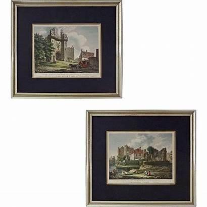Engravings Castles Pair Early English Hearne Framed