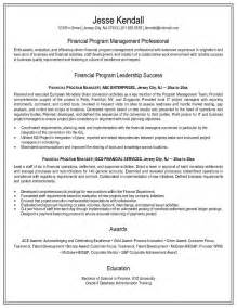 program manager resumes exles exle financial program manager resume free sle